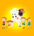 Children crying from tooth decay vector image