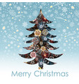 christmas card with decorative tree vector image vector image