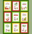 collection of christmas cards with cute santa vector image vector image