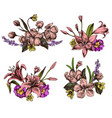 collection of hand drawn lilies vector image