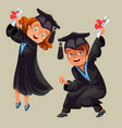 college students poster with happy graduates of vector image vector image