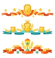 Decor with ribbons and awards in flat design style vector image