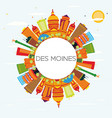 des moines skyline with color buildings blue sky vector image vector image