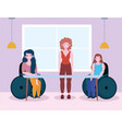 disabled women sitting in a wheelchair and woman vector image vector image