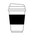 disposable cup in black dotted silhouette on white vector image