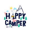 doodle slogan and camp elements vector image