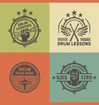 drum school or academy colored emblems vector image vector image