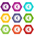 euro coins icon set color hexahedron vector image vector image