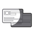 grayscale silhouette of credit card with chip vector image