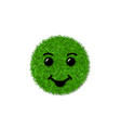 green grass circle field 3d face smile smiley vector image vector image