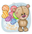 greeting card teddy bear with balloons vector image vector image