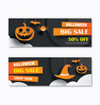 halloween sale banner with dark moon paper art vector image vector image
