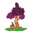 happy pumpkin with witch hat and tree window vector image vector image