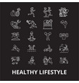 healthy lifestyle editable line icons set vector image vector image