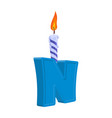 letter n birthday font letter and candle vector image vector image