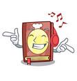 listening music recipe book in the cartoon shape vector image