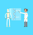 male scientist and robot leading presentation vector image vector image