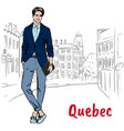 man in quebec vector image vector image