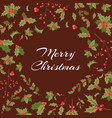 merry christmas greeting card with berries and vector image