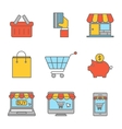 Online shopping outline flat icons vector image