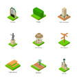 parkland statue icons set isometric style vector image vector image