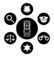 police concept with car and accessories icons vector image vector image