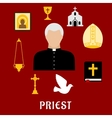 Priest and religious flat icons or symbols vector image