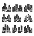 residential area housing estate silhouette icons vector image