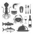 Seafood Monochrome Objects Set vector image vector image