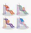 set cute girls and boy play in the slide vector image vector image
