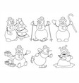 set of cartoon snowman sketch vector image vector image