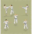 Set of the men showing karate vector image vector image