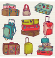 set vintage colorful suitcases vector image