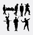 soldier army and police silhouette 5 vector image vector image