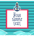 Striped card background with anchor and waves vector image