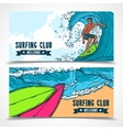 Surfing banners set vector image vector image
