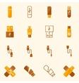 USB icons flat yellow set vector image vector image