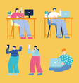 young men and women using smartphone computer vector image
