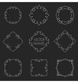Set of thin outline vintage frames on chalkboard vector image
