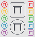 stool seat icon sign Symbols on the Round and vector image