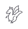 winged dragon concept thin line icon vector image