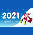 2021 santa hipster happy new year card vector image