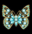 a jewelry brooch butterfly with precious stones vector image vector image