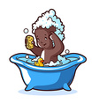 Baby bathing in blue bath with foam and rubber vector image vector image
