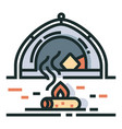camping line color icon vector image