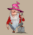 cartoon dwarf in a pink hat stands with a shovel vector image