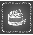 Chalk dessert with strawberry and mint leaves vector image vector image