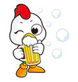 chicken character is drinking beer isolated on vector image vector image
