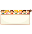 children on blank frame template vector image vector image