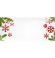 christmas background with red snowflakes vector image vector image